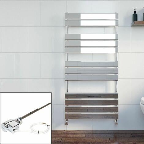 Bathroom 1200 x 600mm Thermostatic Heated Towel Rail Chrome Flat Panel Dual Fuel