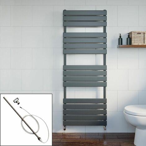Bathroom 1600 x 600mm Manual Heated Towel Rail Radiator Anthracite Flat Panel