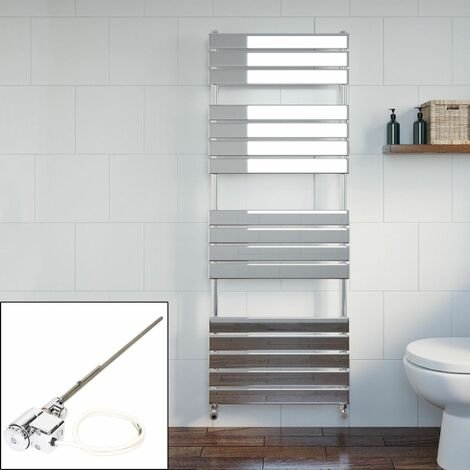 Bathroom 1600 x 600mm Thermostatic Heated Towel Rail Chrome Flat Panel Dual Fuel