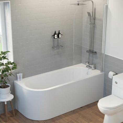 "main image of ""Bathroom 1700 J Shape Right Hand Bath Shower Screen Front Panel Corner Bathtub"""