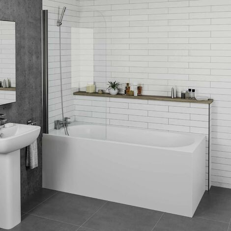 Bathroom 1700mm Single Ended Straight Bath 4mm Shower Screen Front Panel White