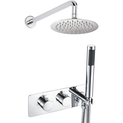 Bathroom 2 Dial 2 Way Round Concealed Thermostatic Valve - Shower Slim Head & Handset
