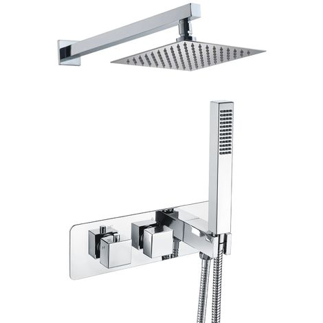 Bathroom 2 Dial 2 Way Square Concealed Thermostatic Valve - Shower Slim Head & Handset