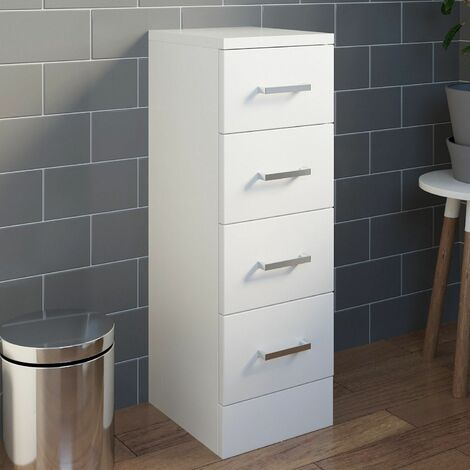 Bathroom 250 x 300 4 Drawer Unit Cabinet Modern Furniture White Gloss Storage
