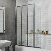 Bathroom 4 Panel Folding Bath Shower Screen Chrome 1000mm Reversible 4mm Glass