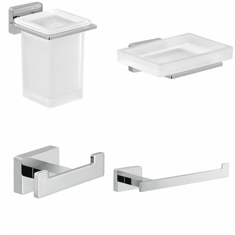 Bathroom 4 Piece Accessory Set Square Wall Mounted Stylish Modern Soap Dish