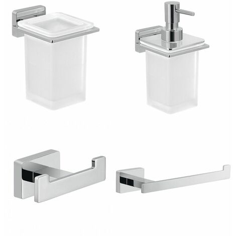 Bathroom 4 Piece Accessory Set Square Wall Mounted Stylish Modern Soap Dispenser