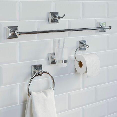 Bathroom 5 Piece Set Towel Ring Rail Tumbler Toilet Roll Holder Robe Hook Chrome