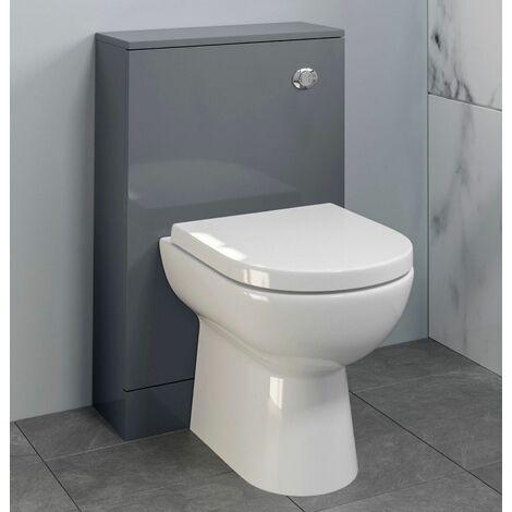 Bathroom 500 x 215mm Back To Wall BTW Toilet Cistern Unit Only Grey Gloss Modern