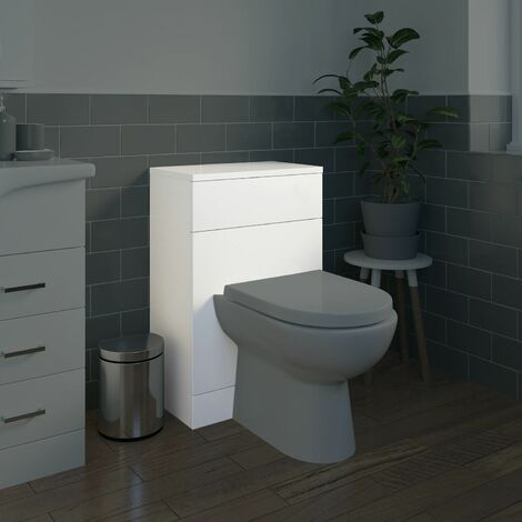 Bathroom 500mm Back To Wall BTW Toilet Unit White Gloss Modern