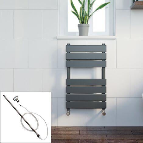 Bathroom 650 x 400 Manual Heated Towel Rail Radiator Anthracite Flat Panel