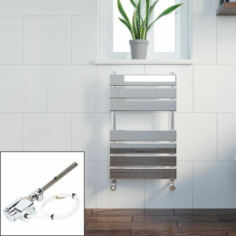 Bathroom 650 x 400mm Thermostatic Heated Towel Rail Chrome Flat Panel Dual Fuel