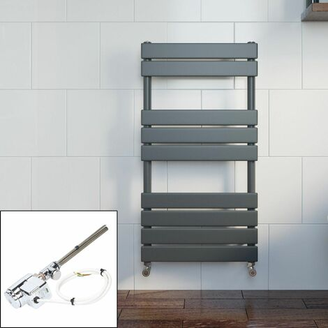Bathroom 950x500mm Thermostatic Heated Towel Rail Radiator Anthracite Flat Panel