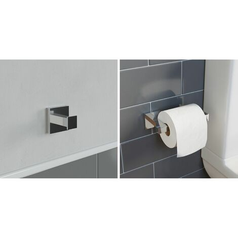 Bathroom Accessories Set Robe Hook Toilet Roll Holder Chrome Square Wall Mounted
