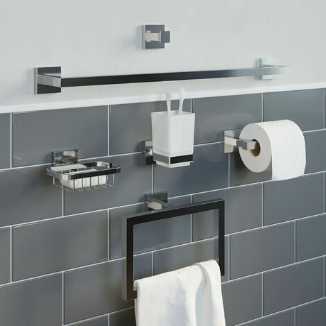 Bathroom Accessories Set Toilet Roll Holder Towel Ring Rail Tumbler Hook Soap