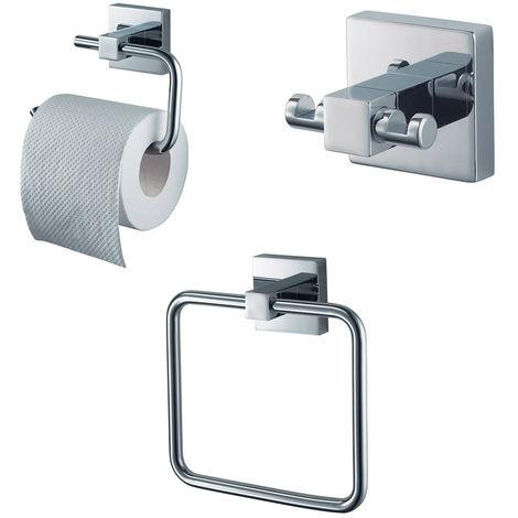 Bathroom Accessory Set Chrome Towel Ring + Toilet Roll Holder + Robe Hook Kit 3 Piece