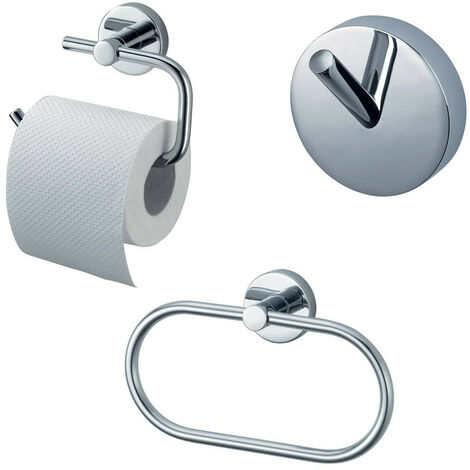 Bathroom Accessory Wall Mount Set Towel Ring + Toilet Roll Holder + Robe Hook Kit Chrome 3 PCS
