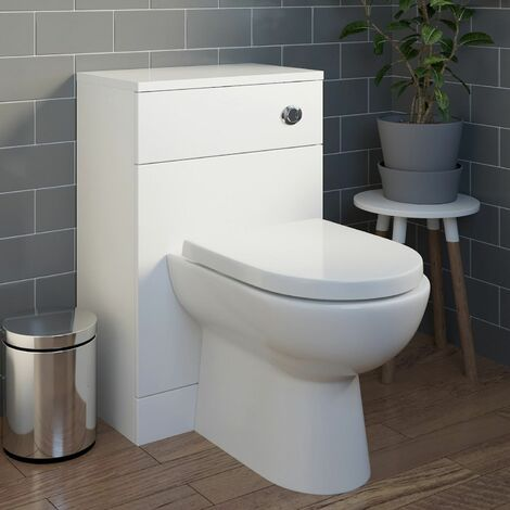 Bathroom Back to Wall Toilet BTW Cloakroom Unit White Gloss D Shaped Modern