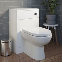 Bathroom Back to Wall Toilet Cloakroom Unit Modern White D Shaped