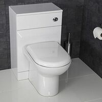 Bathroom Back to Wall Toilet Cloakroom Unit White Gloss D Shaped