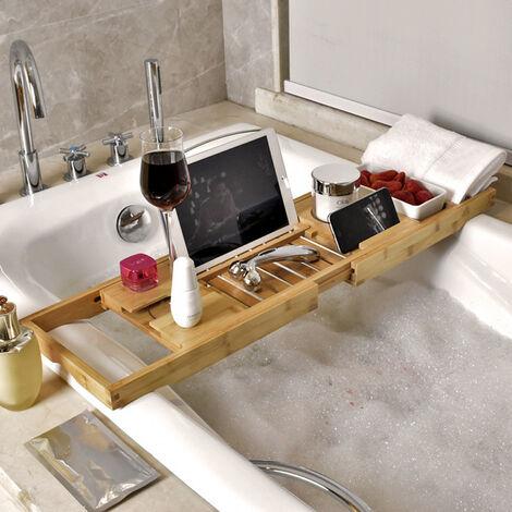 "main image of ""Bathroom Bamboo Bath Caddy Bath Board Shelf Holders"""