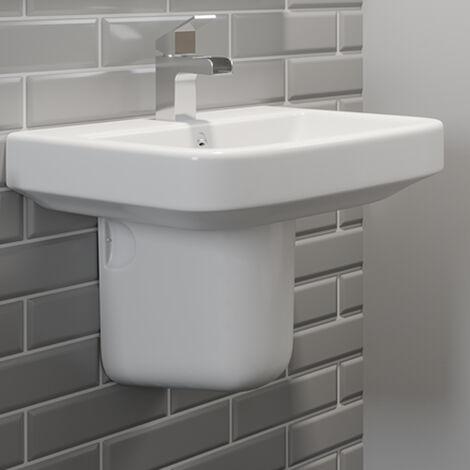 Bathroom Basin Sink Single Tap Hole Semi Pedestal Wall Hung Modern White Round
