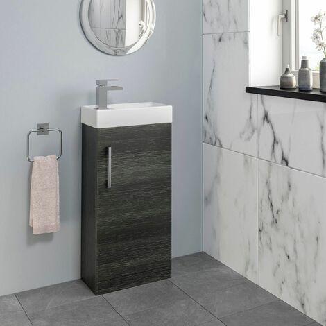 Bathroom Basin Sink Vanity Unit 400mm Contemporary Charcoal Grey