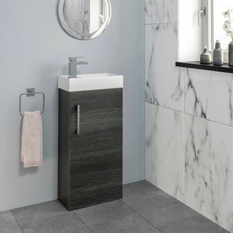 Bathroom Basin Sink Vanity Unit 400mm Contemporary Charcoal Grey