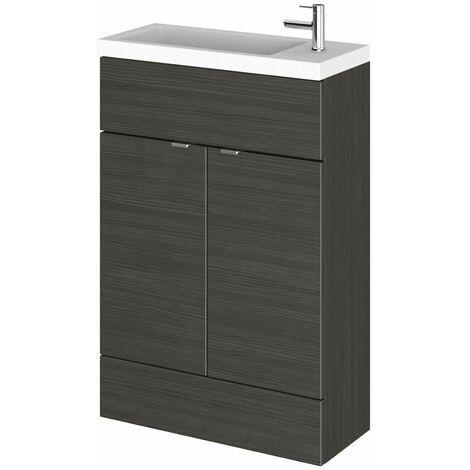 Bathroom Basin Sink Vanity Unit Compact 1 Tap Hole 600mm Floorstanding Black