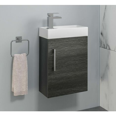 Bathroom Basin Sink Vanity Unit Wall Hung 400mm Modern Charcoal Grey