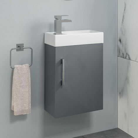 Bathroom Basin Sink Vanity Unit Wall Hung One Tap Hole 400mm Grey