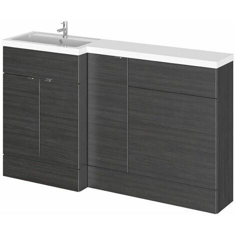 Bathroom Basin Sink Vanity WC Toilet Combination Unit Left Hand 1500mm Black
