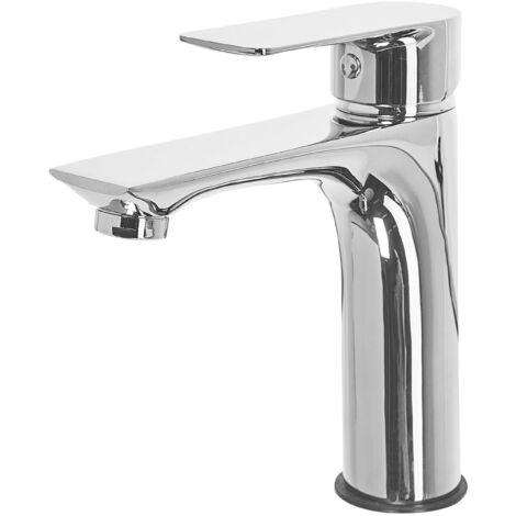 Bathroom Basin Tap Mixer Silver Brass Single Lever Berloi