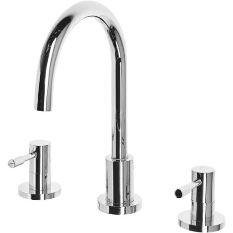 Bathroom Basin Tap Mixer Silver Brass Two Levers Sipi