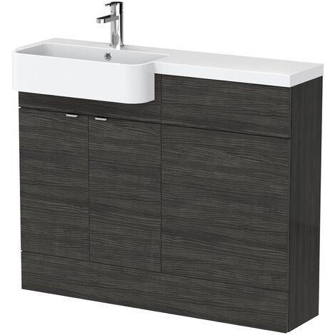 Bathroom Basin Vanity Combination Unit LH 1100mm Black Round Sink Floorstanding
