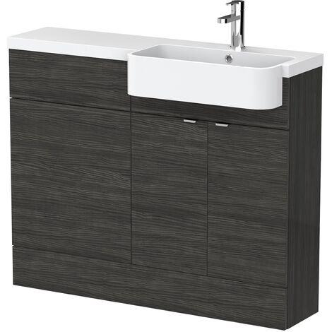 Bathroom Basin Vanity Combination Unit RH 1100mm Black Round Sink Floorstanding