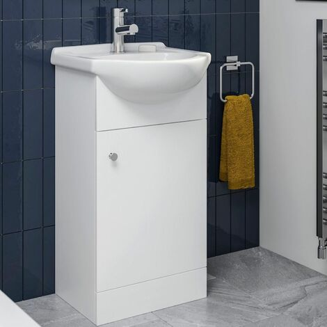"main image of ""Bathroom Basin Vanity Unit Floor Standing 450mm Matte White"""