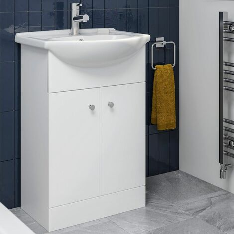 Bathroom Basin Vanity Unit Floor Standing 550mm Matte White