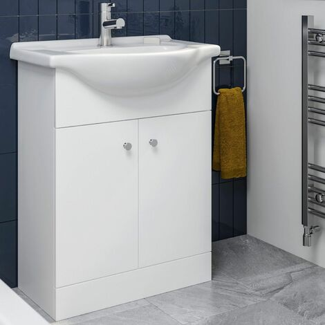 Bathroom Basin Vanity Unit Floor Standing 650mm Matte White