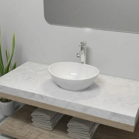 Bathroom Basin with Mixer Tap Ceramic Oval White