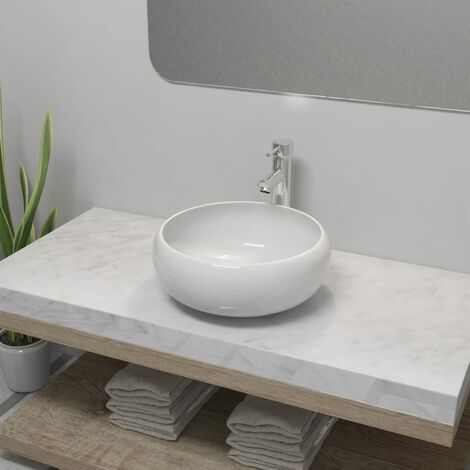 Bathroom Basin with Mixer Tap Ceramic Round White - White