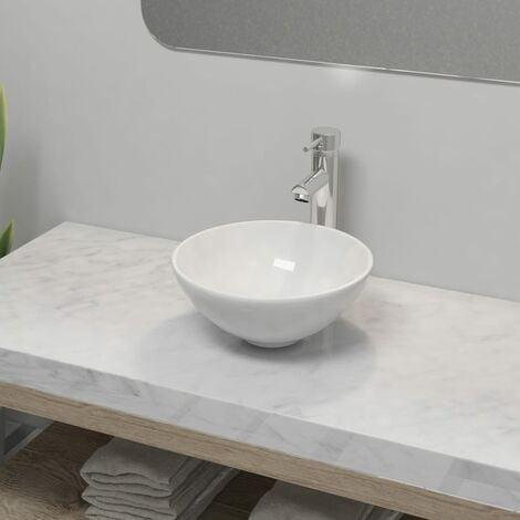 Bathroom Basin with Mixer Tap Ceramic Round White - White