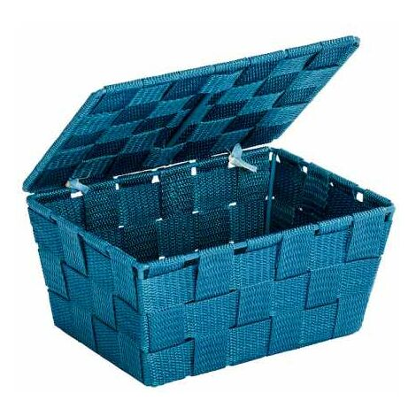 Storage basket Adria Petrol with lid WENKO