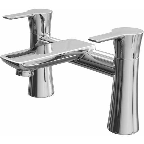 Bathroom Bath Filler Mixer Tap Round Chrome Twin Lever Brass Deck Mounted Modern