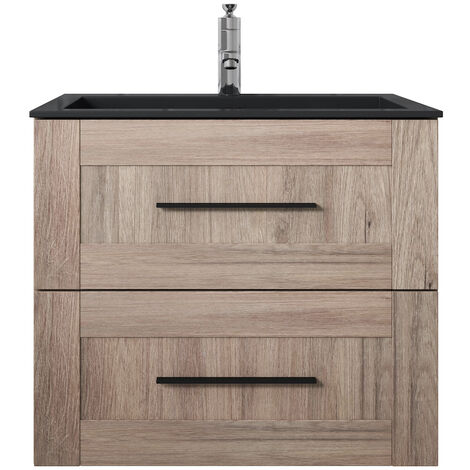 Bathroom bathroom furniture set Idaho 60cm oak with black vanity - cabinet cabinet washbasin vanity