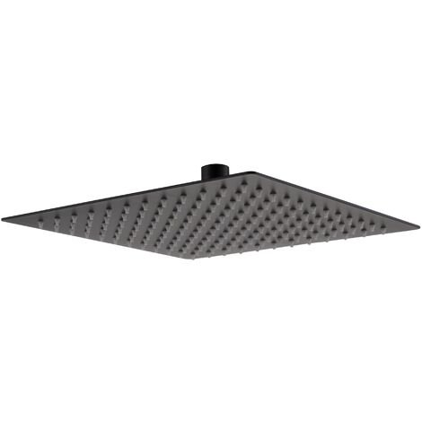 Bathroom Black Matt Square Rainfall Modern Overhead Shower Slim Head 250mm