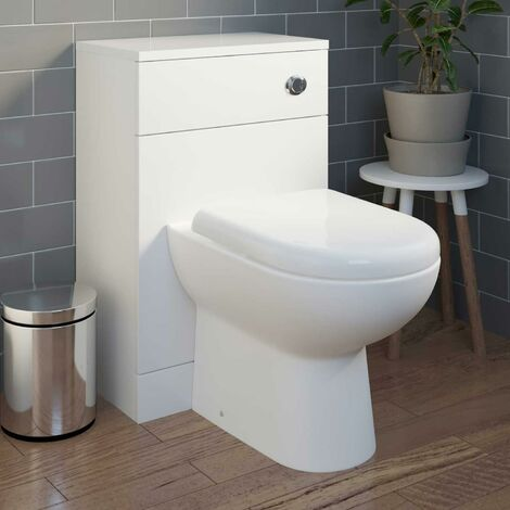 Bathroom BTW Back to Wall Toilet Cloakroom Unit Modern White Gloss D Shaped