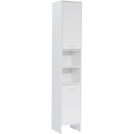 Bathroom Cabinet 2 Door Tall Cabinet High Gloss 30x30x170cm White