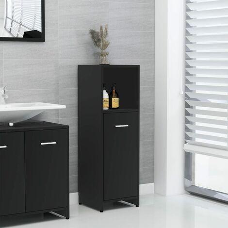 Bathroom Cabinet Black 30x30x95 cm Chipboard