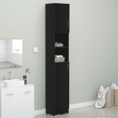 Bathroom Cabinet Black 32x25.5x190 cm Chipboard - Black